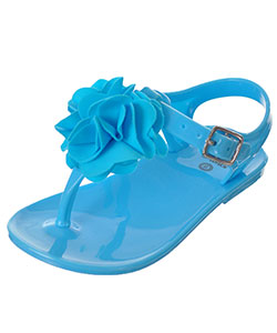 "Stepping Stones Baby Girls' ""Thong Toe Poly Rosette"" Jelly Sandals - CookiesKids.com"