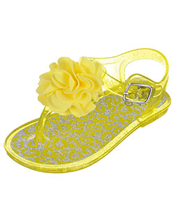 "Stepping Stones Baby Girls' ""Thong Toe Glitter Rosette"" Jelly Sandals - CookiesKids.com"
