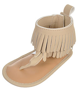 "First Steps by Stepping Stones Baby Girls' ""Fringed Leather"" Sandal Booties - CookiesKids.com"