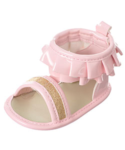 "First Steps by Stepping Stones Baby Girls' ""Patent Ruffles"" Sandal Booties - CookiesKids.com"