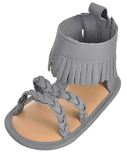 "First Steps by Stepping Stones Baby Girls' ""Braided & Fringed"" Sandal Booties - CookiesKids.com"