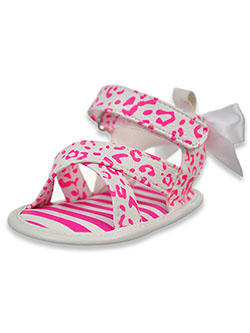 First Steps by Stepping Stones Animal Sandals by Stepping Stones in White/pink