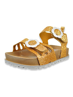 Glitter Sandals by First Steps By Stepping Stones in Gold, Infants