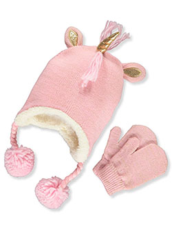 Unicorn 2-Piece Beanie & Mittens Set by Laura Ashley in Pink