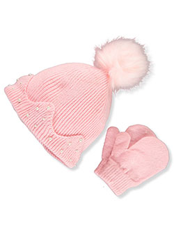 Pearl Trim 2-Piece Beanie & Mittens Set by Laura Ashley in Pink