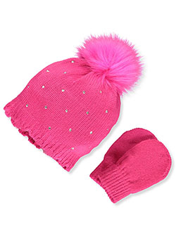 Bejeweled 2-Piece Beanie & Mittens Set by Nicole Miller in Hot pink