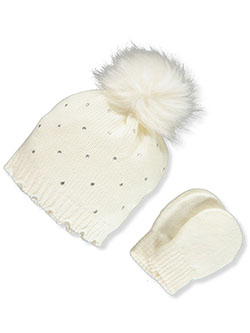 Bejeweled 2-Piece Beanie & Mittens Set by Nicole Miller in White