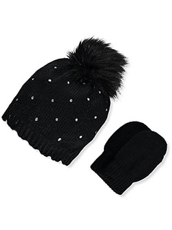 Bejeweled 2-Piece Beanie & Mittens Set by Nicole Miller in Black, Infants