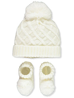 Lattice 2-Piece Beanie & Booties Set by Nicole Miller in White