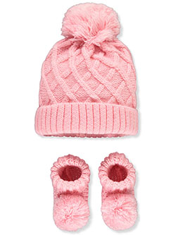 Lattice 2-Piece Beanie & Booties Set by Nicole Miller in Pink