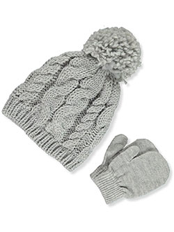 Cable 2-Piece Beanie & Mittens Set by Laura Ashley in Gray, Infants