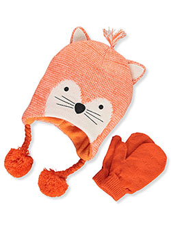 Fox 2-Piece Earflap Beanie & Mittens Set by Stepping Stones in Orange