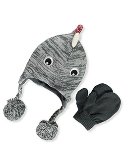 Dino 2-Piece Earflap Beanie & Mittens Set by Stepping Stones in Gray, Infants