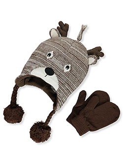 Reindeer 2-Piece Earflap Beanie & Mittens Set by Stepping Stones in Brown