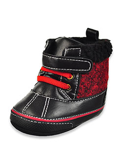 Duck Boot Booties by First Steps by Stepping Stones in Black/red, Infants