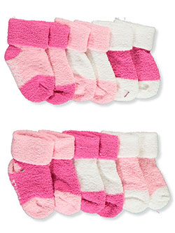 Baby Girls' 6-Pack Terry Socks by Laura Ashley in White/pink