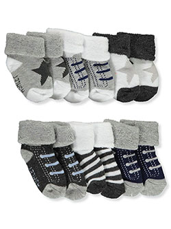 Baby Boys' 6-Pack Foldover Socks by Laura Ashley in Gray multi