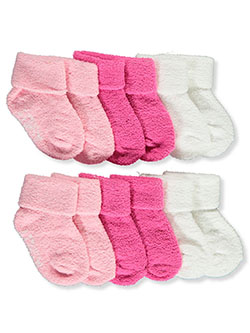Baby Girls' 6-Pack Foldover Socks by Laura Ashley in White/pink - $5.99