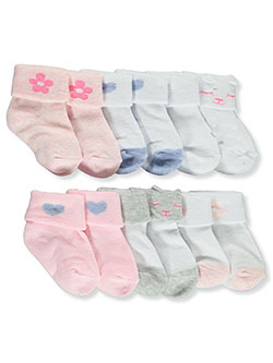 Baby Girls' 6-Pack Cuffed Socks by Koalababy in Pink/white