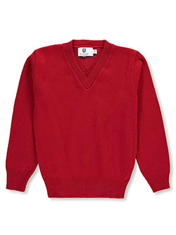 V-Neck Unisex Sweater by Blueberry Knitting in Red