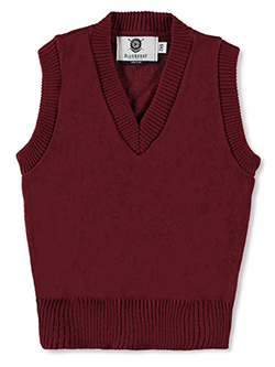 Adult Unisex V-Neck Sweater Vest by Blueberry Knitting in burgundy and navy - $31.00