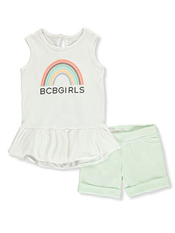 Girls' Rainbow 2-Piece Shorts Set Outfit by BCBG in Black/teal