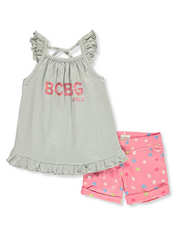 Girls' Star Print 2-Piece Shorts Set Outfit by BCBG in Heather gray