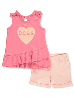 Heart Graphic 2-Piece Shorts Set Outfit by BCBG in Bubble gum