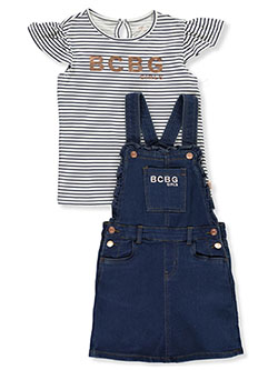 Girls' 2-Piece Denim Shortall Set Outfit by BCBG in Black/teal