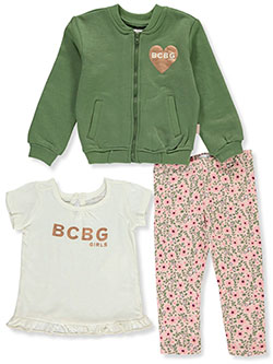Heart Logo 3-Piece Leggings Set Outfit by BCBG in Olive