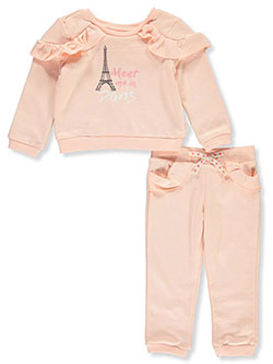 Baby Girls' 2-Piece Sweatsuit Outfit by BCBG in Blush - Active Sets