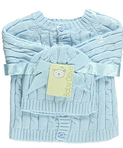 Cable Knit Cardigan & Beanie Set by Baby Dove in Blue, Infants