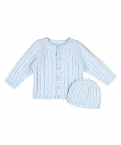 Baby Dove Baby Boys' Cable Knit Cardigan & Beanie Set - CookiesKids.com