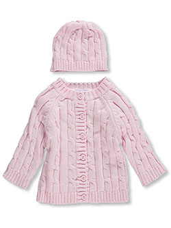Cable Knit Cardigan & Beanie Set by Baby Dove in Pink, Infants