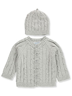 Cable Knit Cardigan and Beanie Set by Baby Dove in Gray, Infants