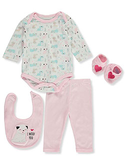 I Woof You 4-Piece Layette Set by Bon Bebe in Light pink multi