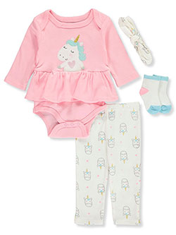 Ruffled Unicorn 4-Piece Layette Set by Bon Bebe in Multi