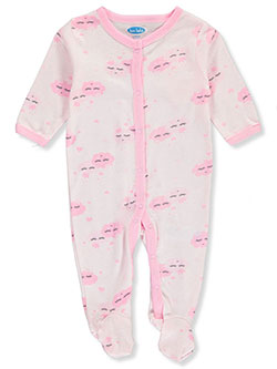 Baby Girls' Cloud Footed Coverall by Bon Bebe in Multi - $5.99