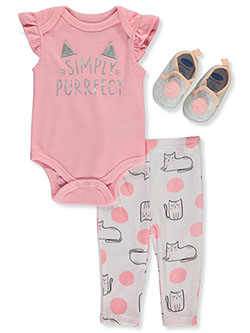 Simply Purrfect 3-Piece Layette Set by Bon Bebe in Pink/gray