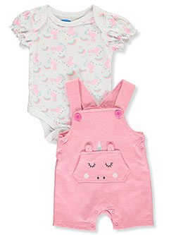 Rainbow Unicorn 2-Piece Layette Set by Bon Bebe in Multi - Overalls & Shortalls