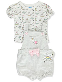Baby Girls' Rainbow 2-Piece Layette Set by Bon Bebe in Multi - Overalls & Shortalls