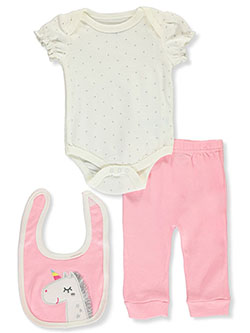 Glitter Unicorn 3-Piece Layette Set by Bon Bebe in Pink/multi
