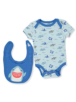 Baby Boys' Shark 2-Piece Layette Set by Bon Bebe in Blue