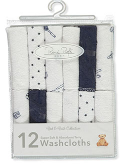 12-Pack Super Soft Terry Washcloths by Rene Rofe in Multi