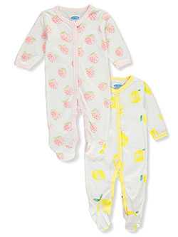 Baby 2-Pack Fruitful Jersey Footed Coveralls by Bon Bebe in Multi