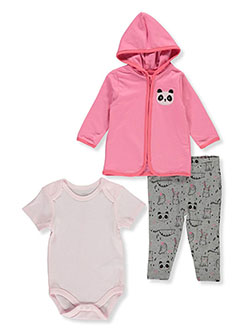 Baby Girls' Panda 3-Piece Layette Set by Bon Bebe in Multi