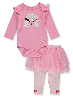 Poodle 2-Piece Leggings Set Outfit by Bon Bebe in Multi