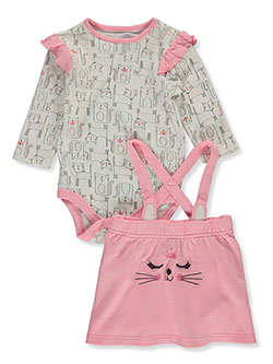 Cat 2-Piece Skirtalls Set Outfit by Bon Bebe in Multi
