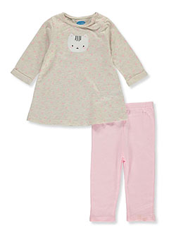 Cat Dress 2-Piece Leggings Set Outfit by Bon Bebe in Multi, Infants