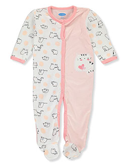 Baby Girls' Cat Footed Coverall by Bon Bebe in Multi, Infants